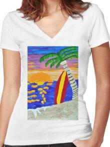 Surfer Sunset Women's Fitted V-Neck T-Shirt