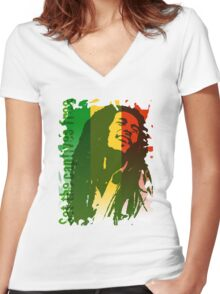 SET THE CAPTIVES FREE Women's Fitted V-Neck T-Shirt
