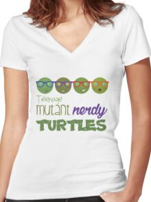 FunnyBONE Nerdy Turtles Women's Fitted V-Neck T-Shirt
