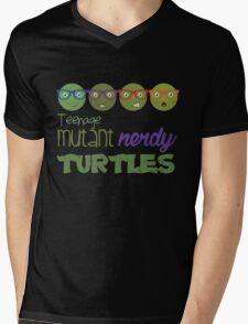 FunnyBONE Nerdy Turtles Mens V-Neck T-Shirt