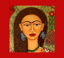 My homage to Frida throw pillow or tote bag by Madalena Lobao-Tello
