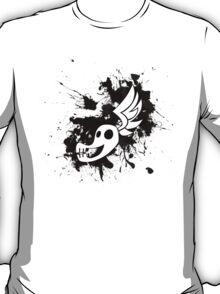 Shadowbolt skull wing splat (no text, black splats) T-Shirt