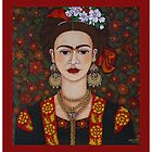 Frida with butterflies throw pillow or tote bag by Madalena Lobao-Tello