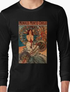 'Monaco' by Alphonse Mucha (Reproduction) Long Sleeve T-Shirt