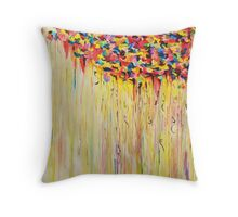 Raining Sunshine - Bold Bright Sunny Colorful Rain Storm Abstract Acrylic Painting Throw Pillow