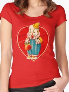 Vintage Valentine evil clown Women's Fitted Scoop T-Shirt