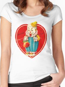 Vintage Valentine evil clown Women's Fitted Scoop T-Shirt