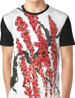 A branch of a blossoming cherry. Red flowers of sakura Graphic T-Shirt