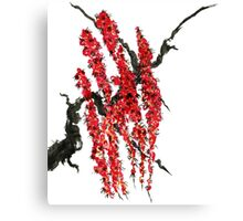 A branch of a blossoming cherry. Red flowers of sakura Canvas Print