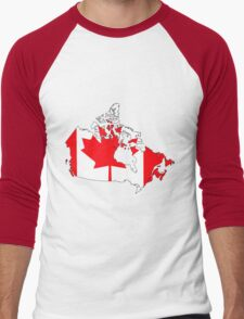 Canada Map with Canadian Flag Men's Baseball ¾ T-Shirt