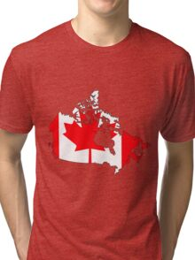 Canada Map with Canadian Flag Tri-blend T-Shirt