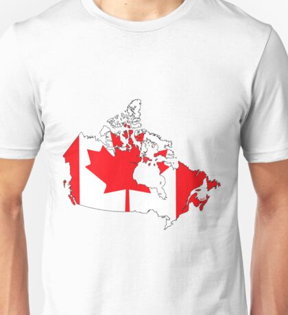 Canada Map with Canadian Flag Unisex T-Shirt
