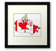 Canada Map with Canadian Flag Framed Print