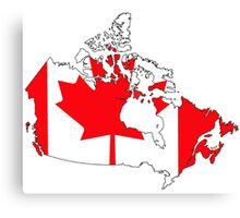 Canada Map with Canadian Flag Canvas Print