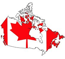 Canada Map with Canadian Flag Photographic Print