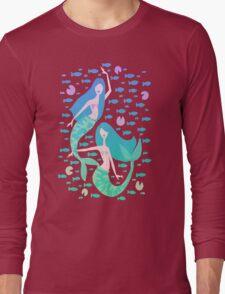 Koi Mermaids – Turquoise Ombré Palette Long Sleeve T-Shirt