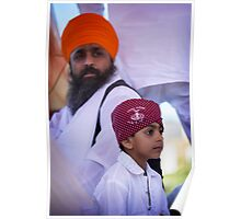 Sikh Holy Man and his Son Poster