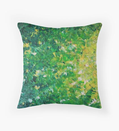 LAKE GRASS - Original Acrylic Abstract Painting Lake Seaweed Hunter Forest Kelly Green Water Lovely Throw Pillow