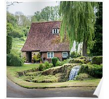 Cottage, Garden and stream Poster