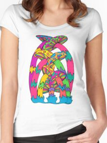 Pastel Mushroom Women's Fitted Scoop T-Shirt