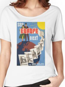 See Europe Next Vintage Travel Poster Women's Relaxed Fit T-Shirt
