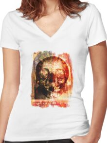 floral skully Women's Fitted V-Neck T-Shirt