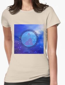 Cosmic Peace Buddha (blue) Womens Fitted T-Shirt