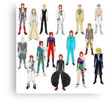 Bowie Scattered Fashion on White Canvas Print