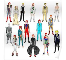 Bowie Scattered Fashion on White Poster