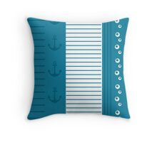 Trendy Nautical Blue and White Stripe Design Throw Pillow
