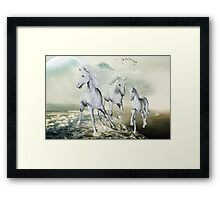 White Horses On The Beach Framed Print