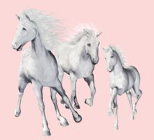 White Horses On The Beach One Piece - Short Sleeve