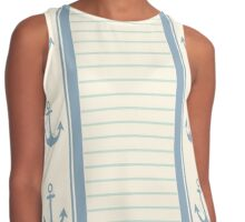 Trendy Nautical Stripe Design Contrast Tank