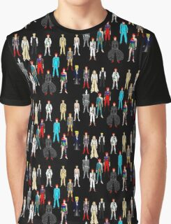 Bowie Scattered Fashion on Black Graphic T-Shirt