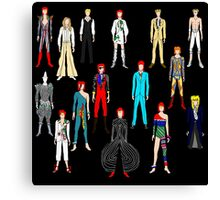Bowie Scattered Fashion on Black Canvas Print