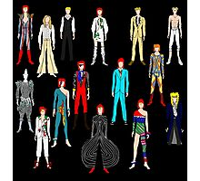 Bowie Scattered Fashion on Black Photographic Print