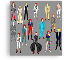 Bowie Scattered Fashion on Gray Canvas Print