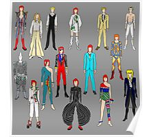 Bowie Scattered Fashion on Gray Poster