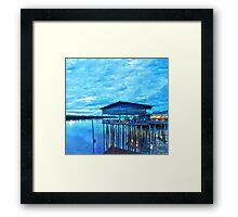 rural fishing cabin by the lake in the morning Framed Print