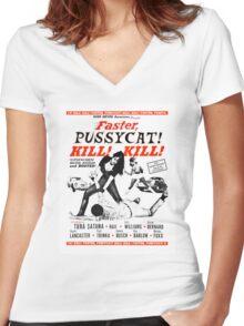 Faster, Pussycat! KILL! KILL! Women's Fitted V-Neck T-Shirt