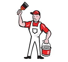 House Painter Holding Paint Can Paintbrush Cartoon Photographic Print