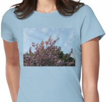 Pink Tree Blossoms against Blue Sky Womens Fitted T-Shirt