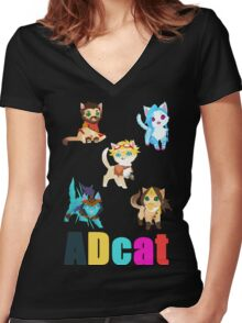 ADcat Women's Fitted V-Neck T-Shirt