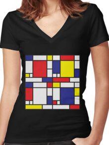 Mondrian Study I Women's Fitted V-Neck T-Shirt