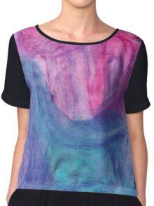 Abstract Watercolor Texture Chiffon Top