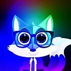 Fox Nerd - Retro Rainbow by Adamzworld