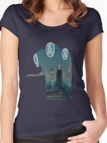 Kaonashi And Ogino Chihiro Spirited Away   Sen To Chihiro No Kamikakushi Women's Fitted Scoop T-Shirt