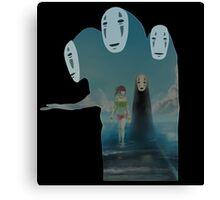 Kaonashi And Ogino Chihiro Spirited Away | Sen To Chihiro No Kamikakushi Canvas Print