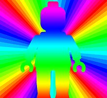 Rainbow Minifig in front of Rainbow by Customize My Minifig by ChilleeW