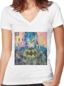 Superheros Type Font Series - Abstract Bat Pop Art Comic Women's Fitted V-Neck T-Shirt